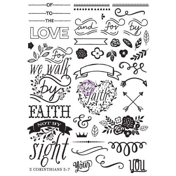 Love Faith Scrap -Cling Stamp - Elements