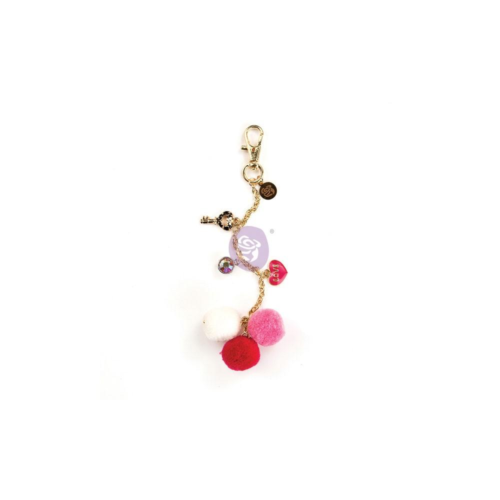 My Prima Planner Embellishments - Raspberry Kisses Pom Pom Key Chain