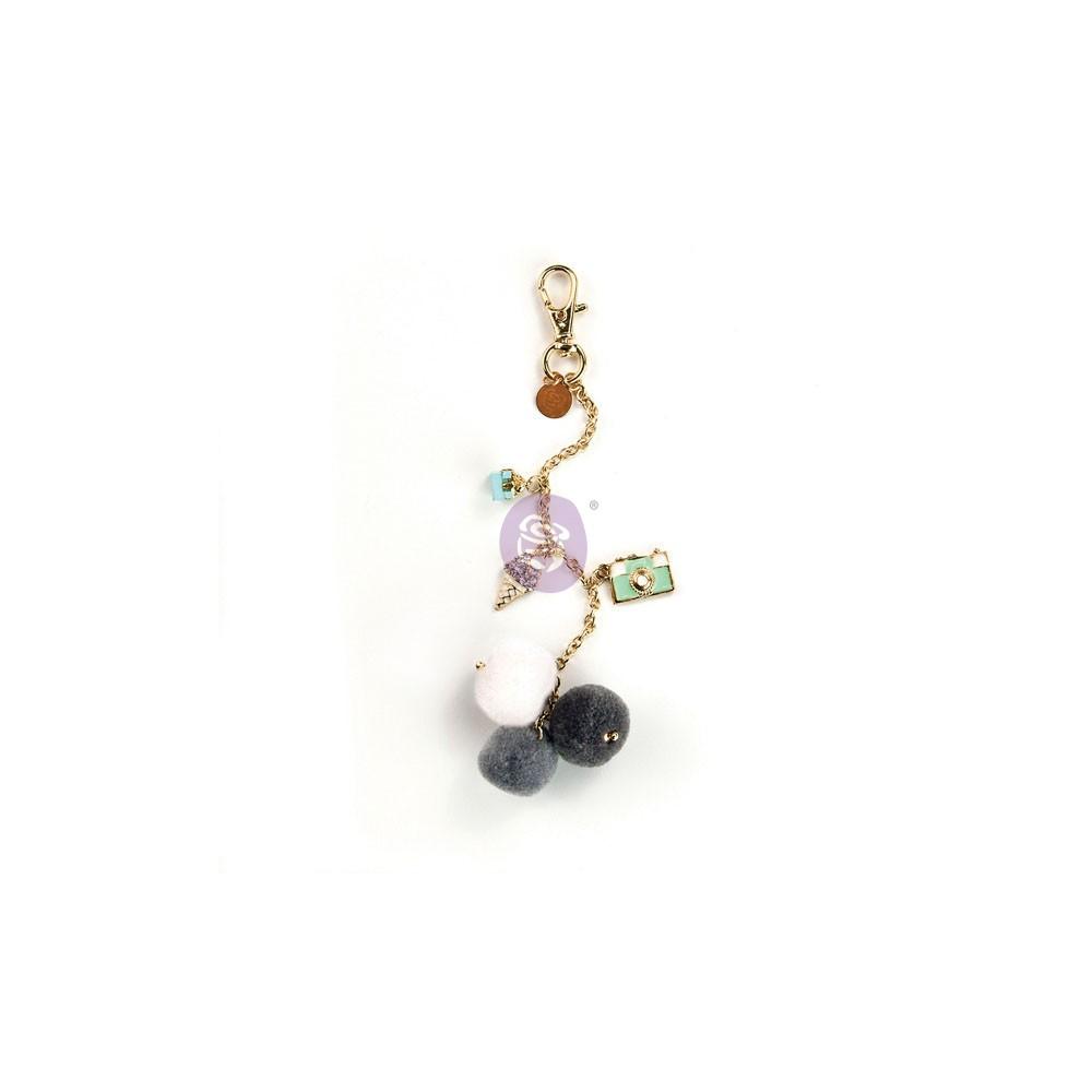 My Prima Planner Embellishments - Snow & Mint Pom Pom Key Chain