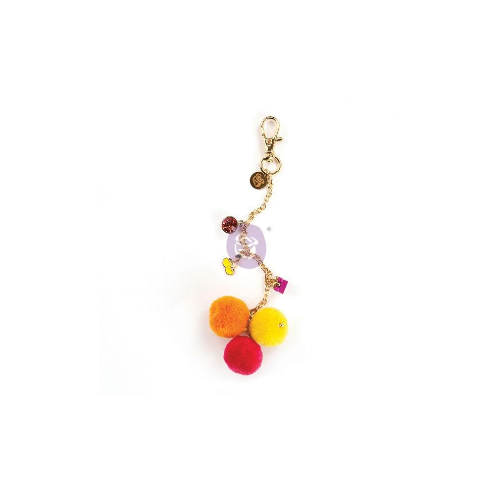 My Prima Planner Embellishments - Fuschia Cherry Pom Pom Key Chain