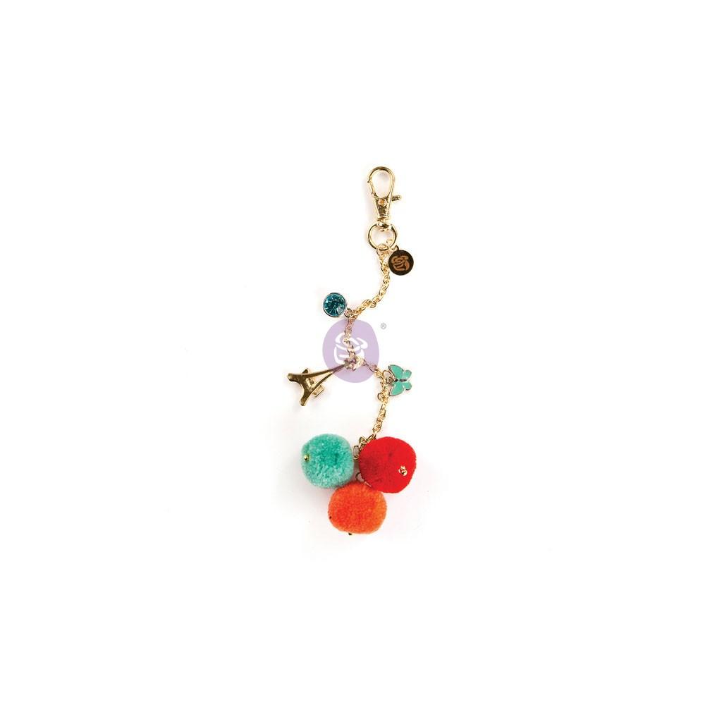My Prima Planner Embellishments - Tangerine Pop Pom Pom Key Chain
