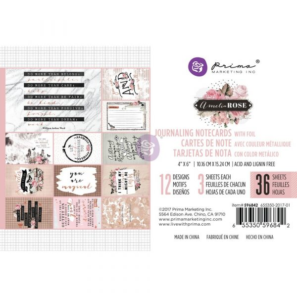 Amelia Rose - 4x6 Journaling Cards