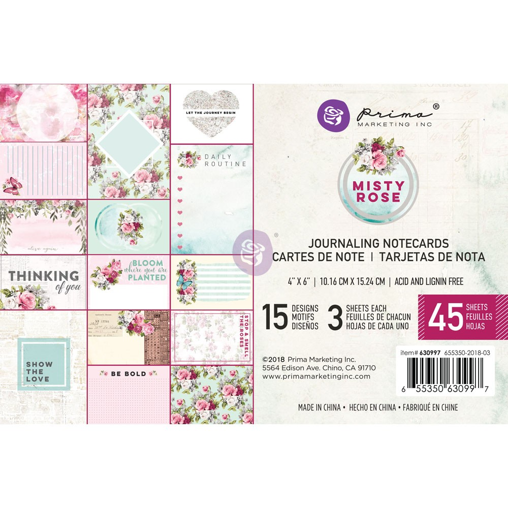 Misty Rose 4x6 Journaling Cards