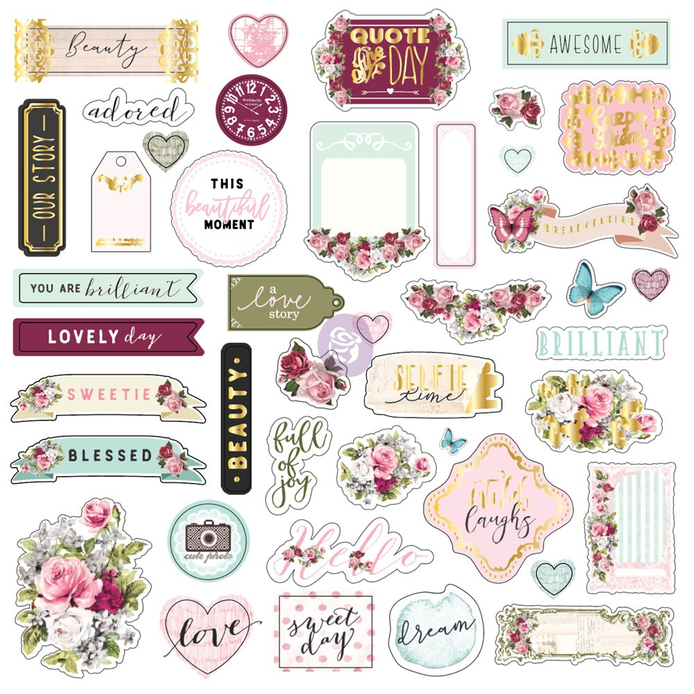 Misty Rose Ephemera Sticker 1