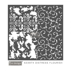 Redesign Mixed Media Stencil - Distressed Flourish