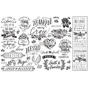 "Découpage Décor Tissue Paper - Thankful & Blessed - 2 sheets (19"" x 30"")"