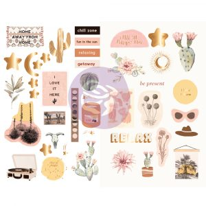 Golden Desert Collection Chipboard Stickers - 42 pcs w/ foil details