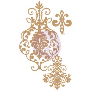 Chipboard Diecut - Elegant Damask -  3 pcs,  1.7-6