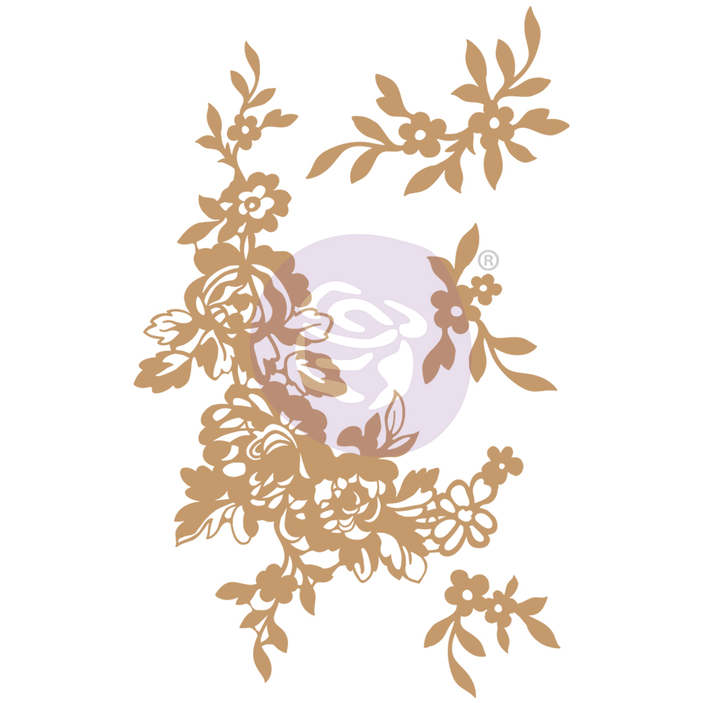 Chipboard Diecut - Beautiful Fleur -  4 pcs,  1.5-7