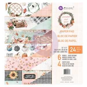 "Pumpkin & Spice Collection 12x12 Paper Pad - 12"" x 12.5"", 24 sheets, foil details"