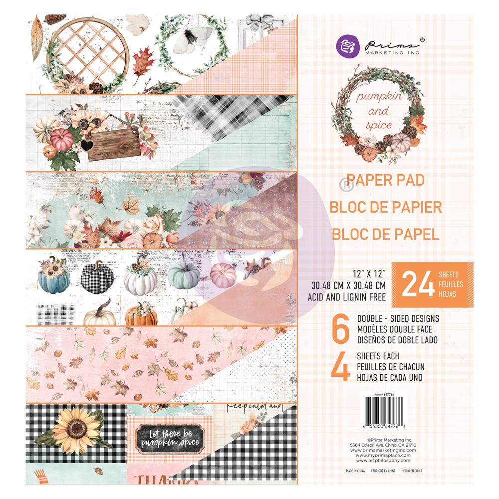 """Pumpkin & Spice Collection 12x12 Paper Pad - 12"""" x 12.5"""", 24 sheets, foil details"""