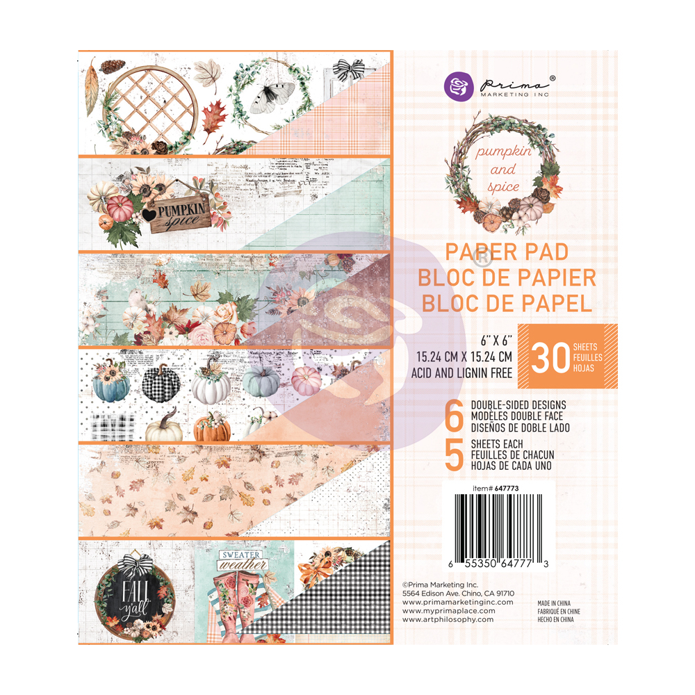 """Pumpkin & Spice Collection 6x6 Paper Pad - 6"""" x 6.5"""", 30 sheets"""