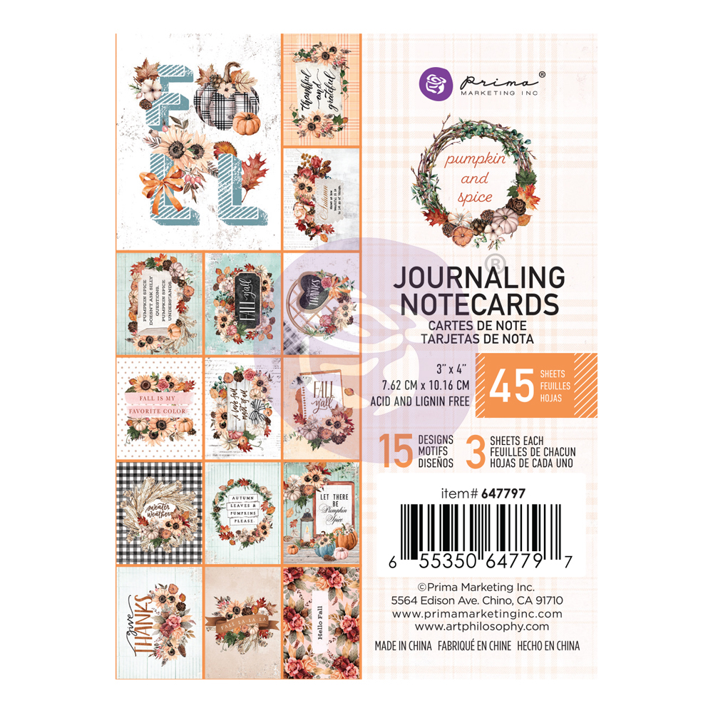 """Pumpkin & Spice Collection 3X4 Journaling Cards - 3"""" x 4"""", 45 sheets"""