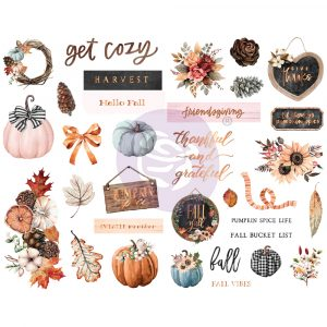 Pumpkin & Spice Collection Chipboards - 33 pcs, foil details