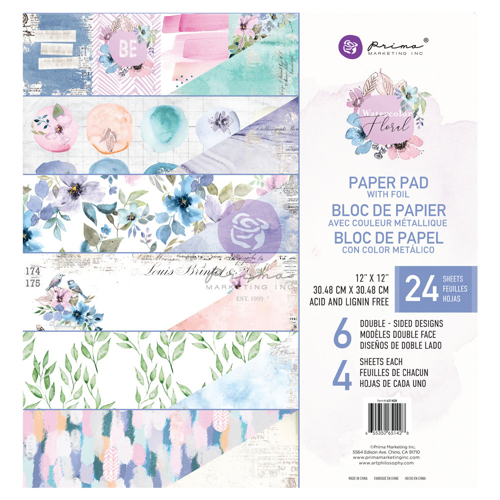 Watercolor Floral Collection 12x12 Paper Pad - 24 sheets w/ foil details