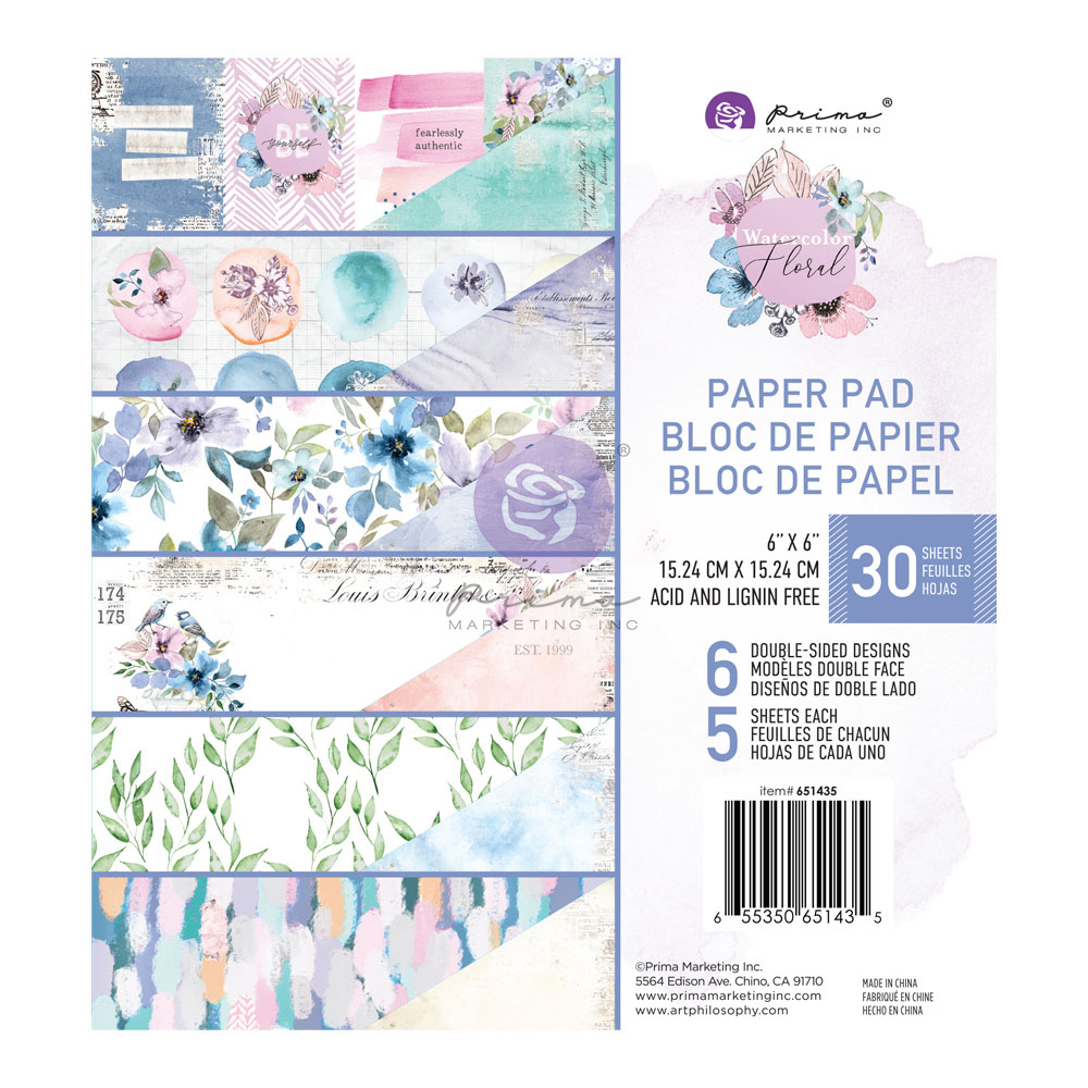 Watercolor Floral Collection 6x6 Paper Pad - 30 sheets