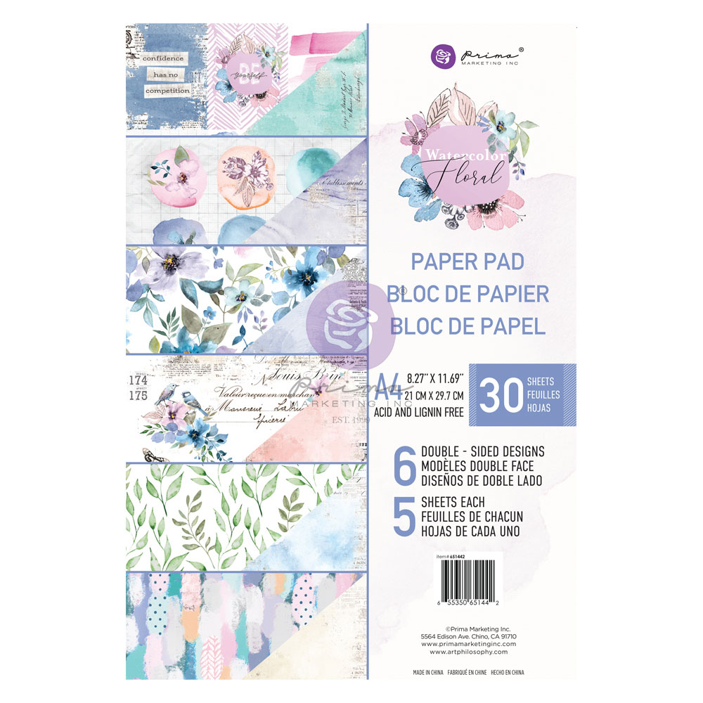 Watercolor Floral Collection A4 Paper Pad - 30 sheets