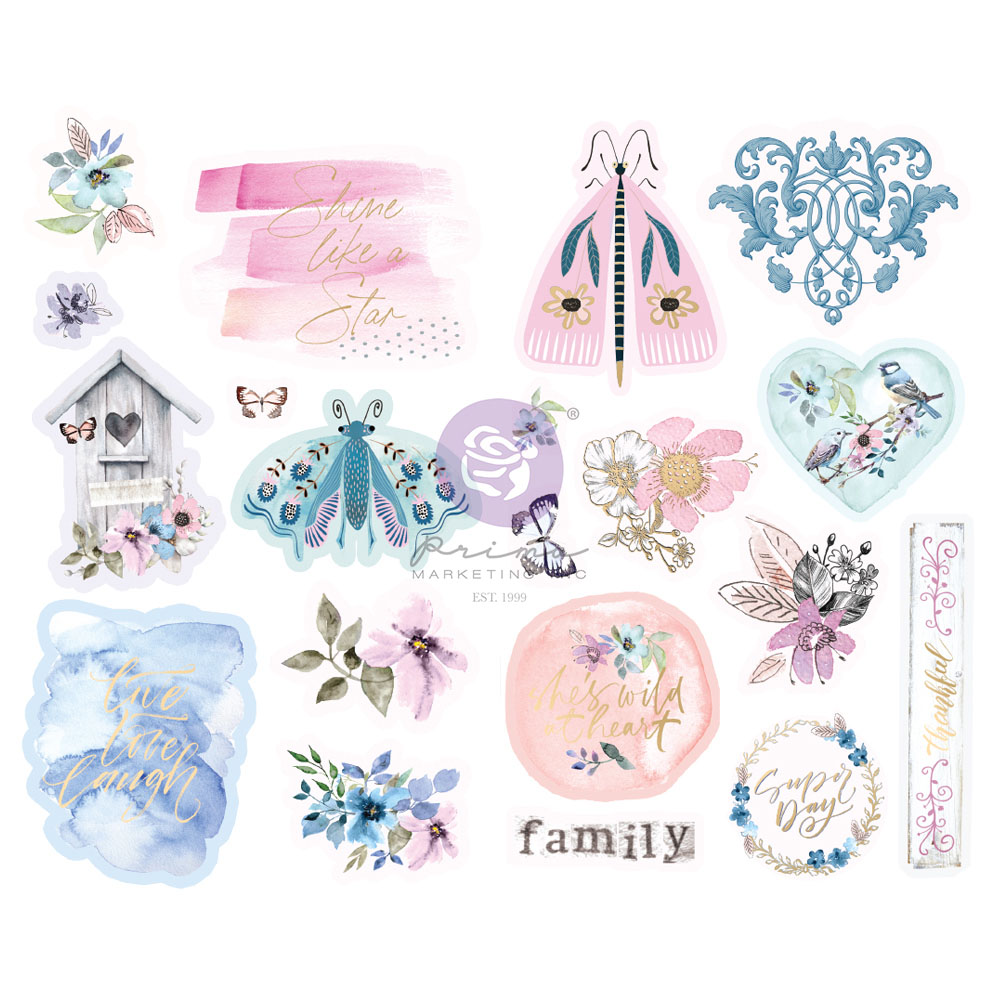 Watercolor Floral Collection Chipboard Stickers - 20 pcs w/ foil details