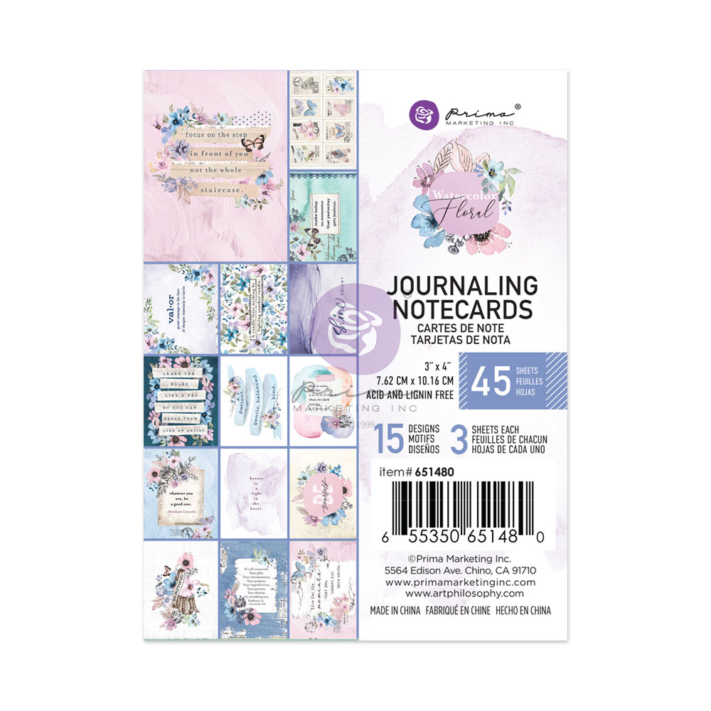 Watercolor Floral Collection 3X4 Journaling Cards - 45 sheets