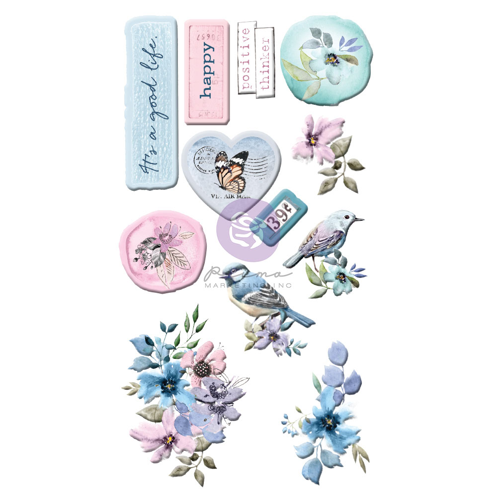 Watercolor Floral Collection Puffy Stickers - 12 pcs