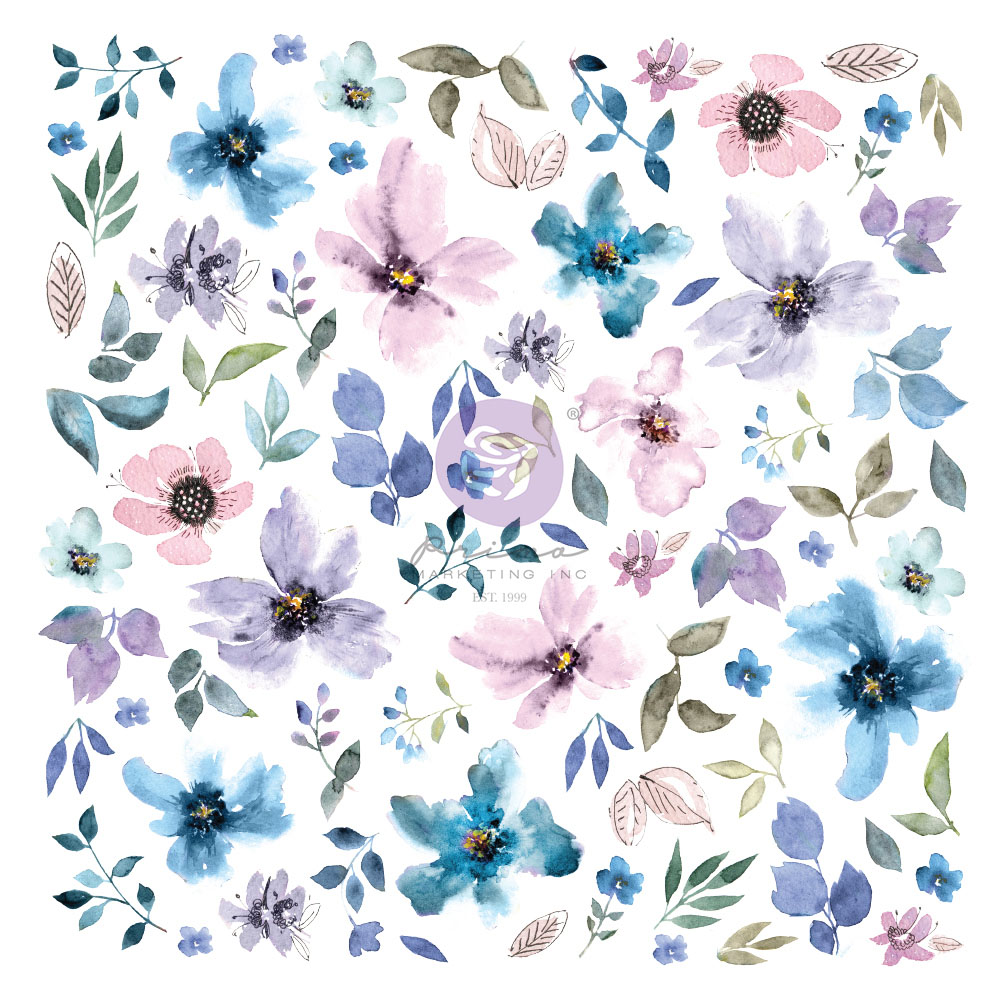 Watercolor Floral Collection Ephemera - 77 pcs w/ foil details