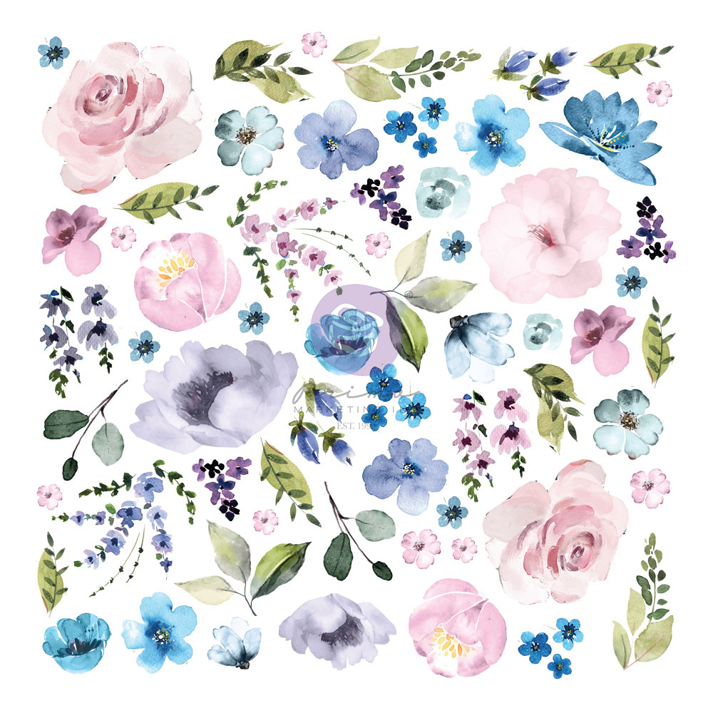 Watercolor Floral Collection Ephemera - 62 pcs w/ foil details
