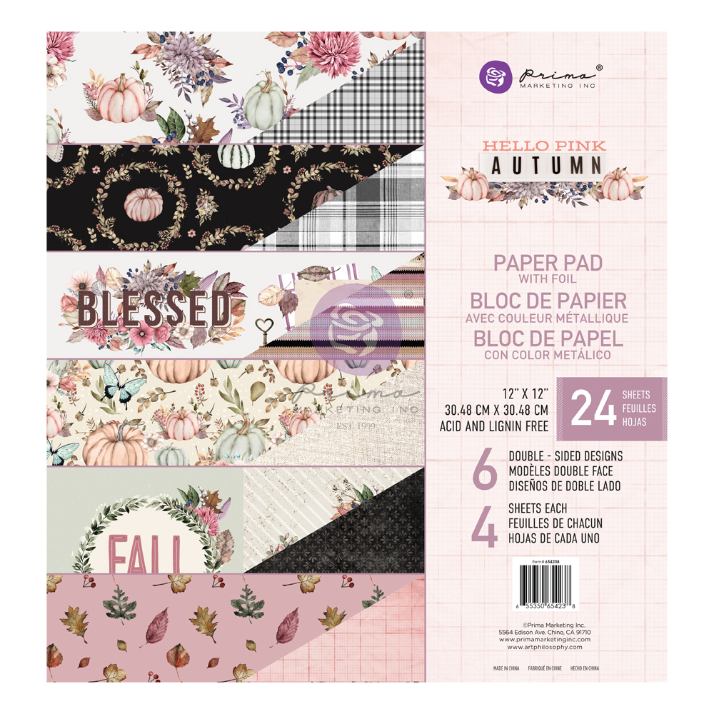 Hello Pink Autumn Collection 12x12 Paper Pad - 24 sheets w/ foil detail