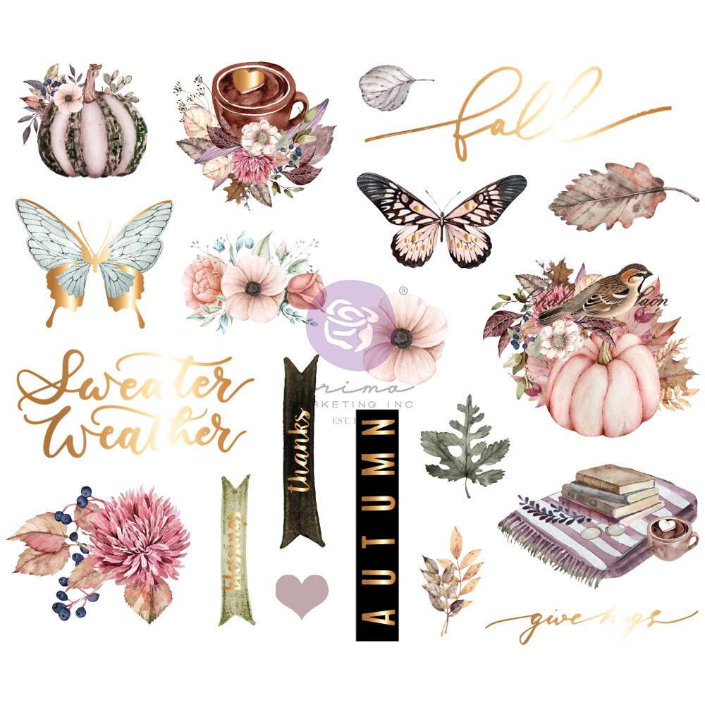 Hello Pink Autumn Collection Chipboard Stickers - 20 pcs w/ foil detail