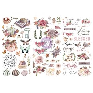 """Hello Pink Autumn Collection Rub on Transfers - 3 sheets, 12""""x6"""""""