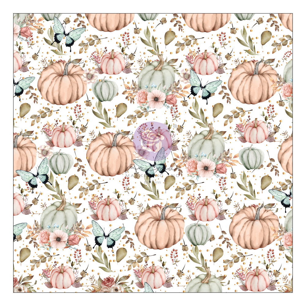 """Hello Pink Autumn Collection Specialty Paper-  Vellum - 1 sheet, 12""""x12"""" with foil detail"""