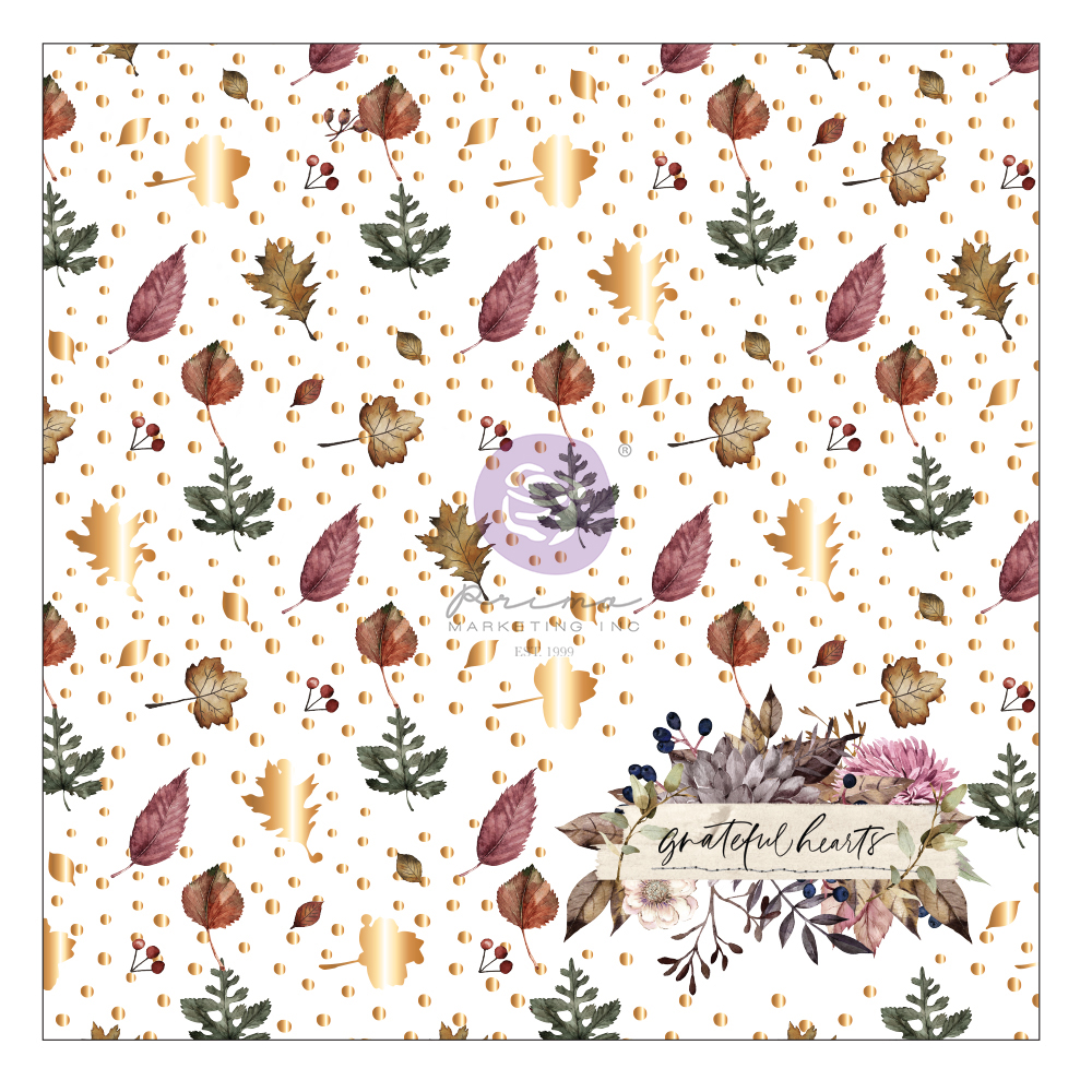 """Hello Pink Autumn Collection Specialty Paper-  Acetate - 1 sheet, 12""""x12"""" with foil detail"""