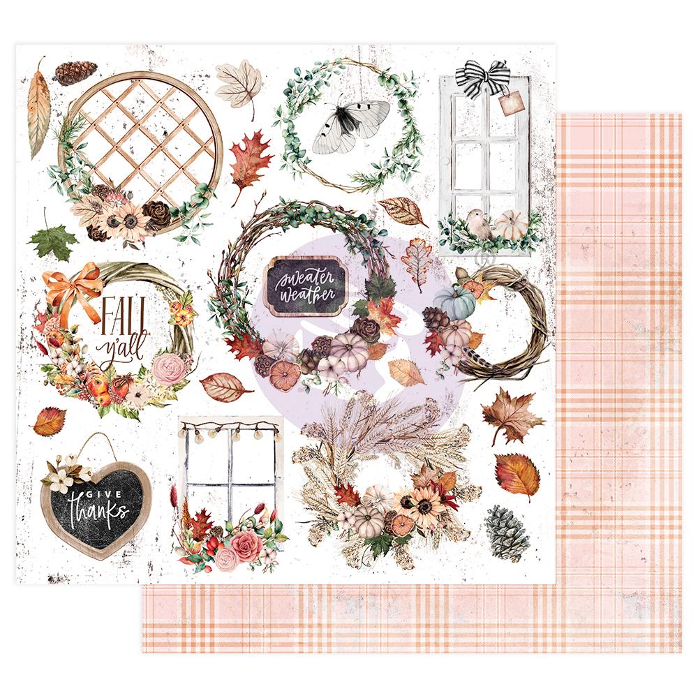 "Pumpkin & Spice Collection 12x12 Sheet - Sweater Weather - 12"" x 12.5"", foil details"