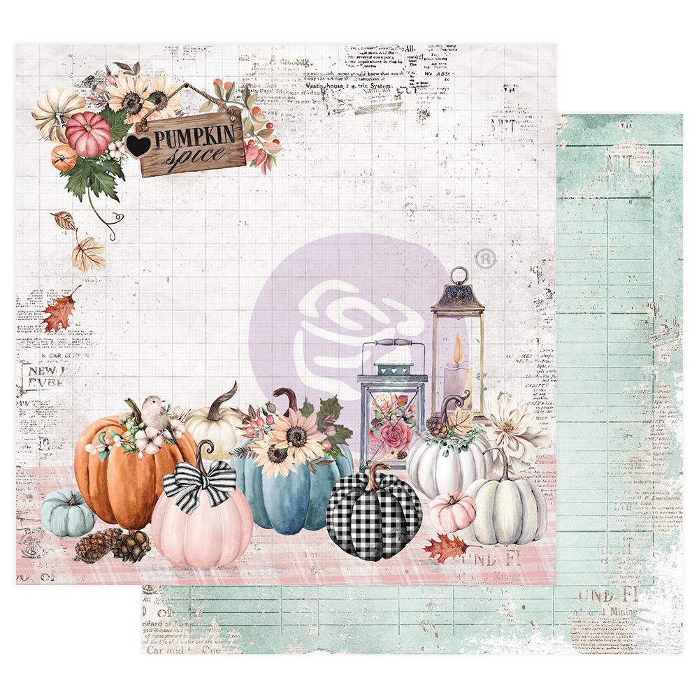 """Pumpkin & Spice Collection 12x12 Sheet - Pumpkin Spice - 12"""" x 12.5"""", foil details"""