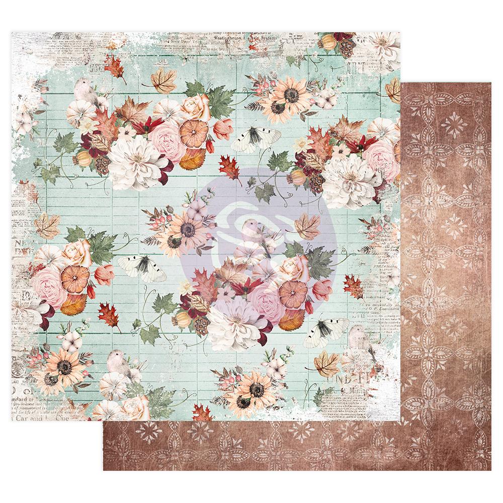"""Pumpkin & Spice Collection 12x12 Sheet - Fall flowers - 12"""" x 12.5"""", foil details"""