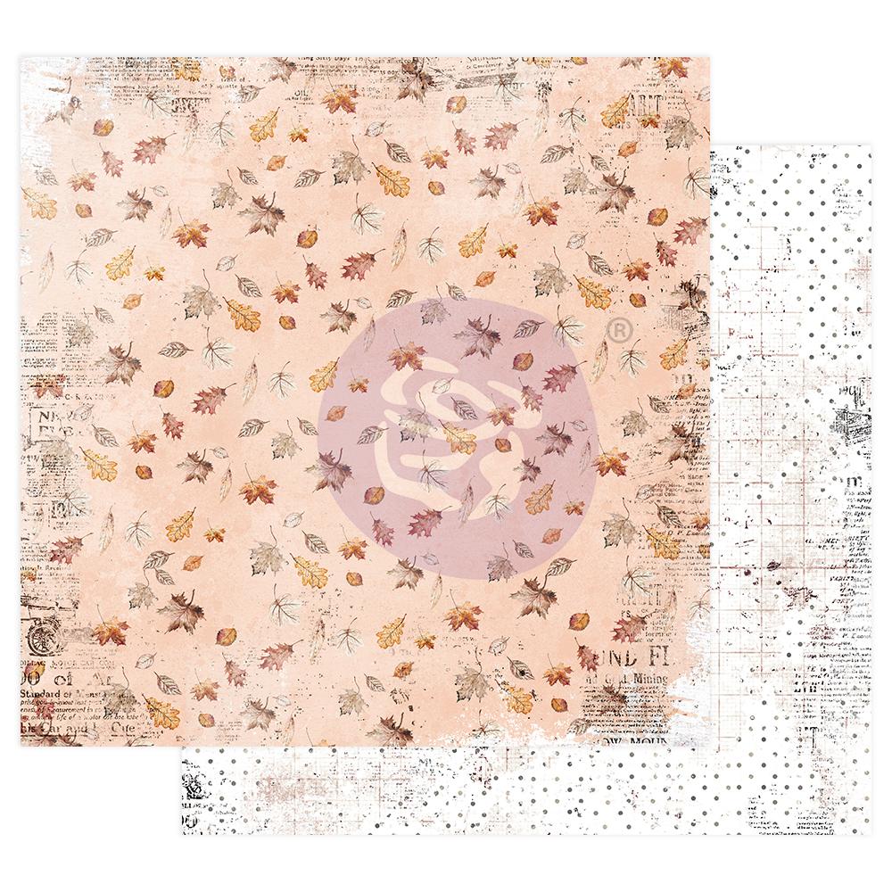 """Pumpkin & Spice Collection 12x12 Sheet - Crunchy Leaves - 12"""" x 12.5"""", foil details"""