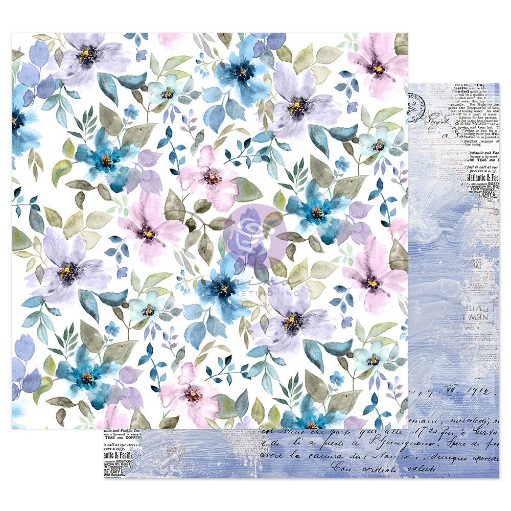 Watercolor Floral Collection 12x12 Sheet - In The Water Garden - 1 sheet w/ foil details