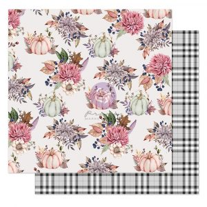 """Hello Pink Autumn Collection 12x12 Sheet - Hello pink autumn - 1 sheet, 12""""x12"""" with foil detail"""