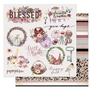 """Hello Pink Autumn Collection 12x12 Sheet - Sweater weather - 1 sheet, 12""""x12"""" with foil detail"""