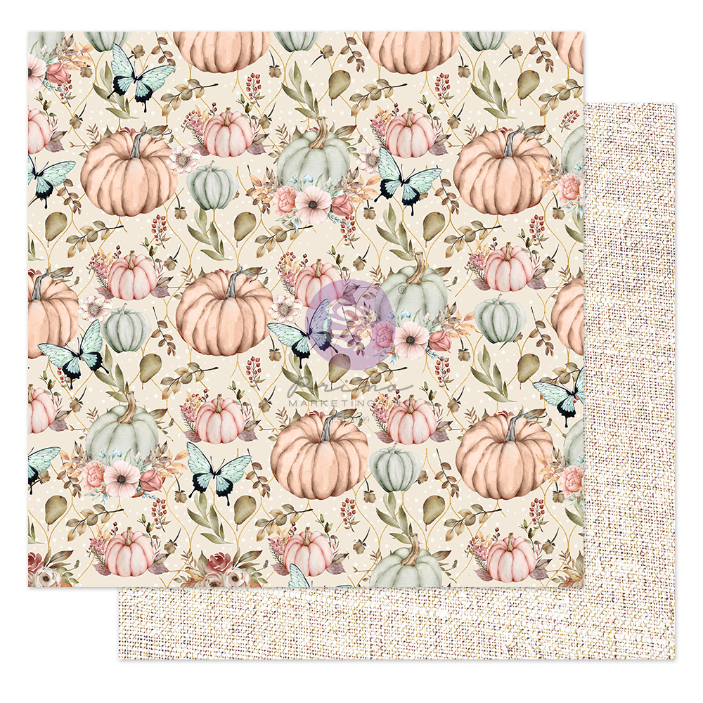 """Hello Pink Autumn Collection 12x12 Sheet - Happy fall - 1 sheet, 12""""x12"""" with foil detail"""