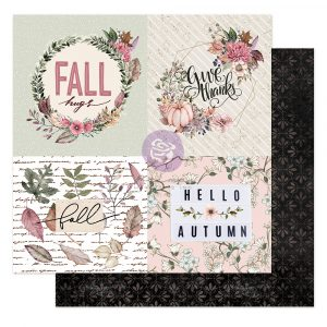 """Hello Pink Autumn Collection 12x12 Sheet - Fall hugs - 1 sheet, 12""""x12"""" with foil detail"""