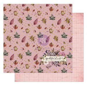 """Hello Pink Autumn Collection 12x12 Sheet - Grateful hearts - 1 sheet, 12""""x12"""" with foil detail"""