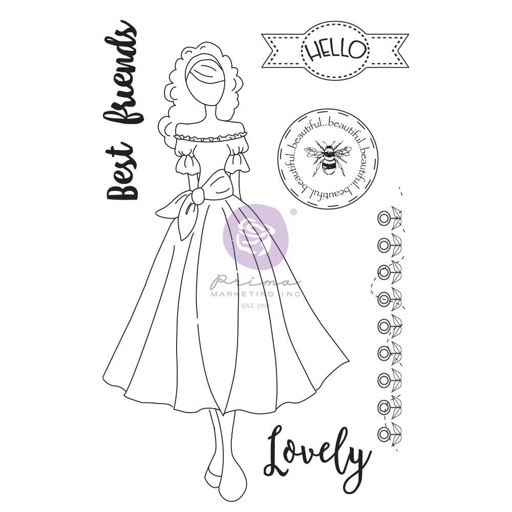 Julie Nutting Doll Stamp - Melissa  - 6 pcs, total sheet size 5.25x8 in