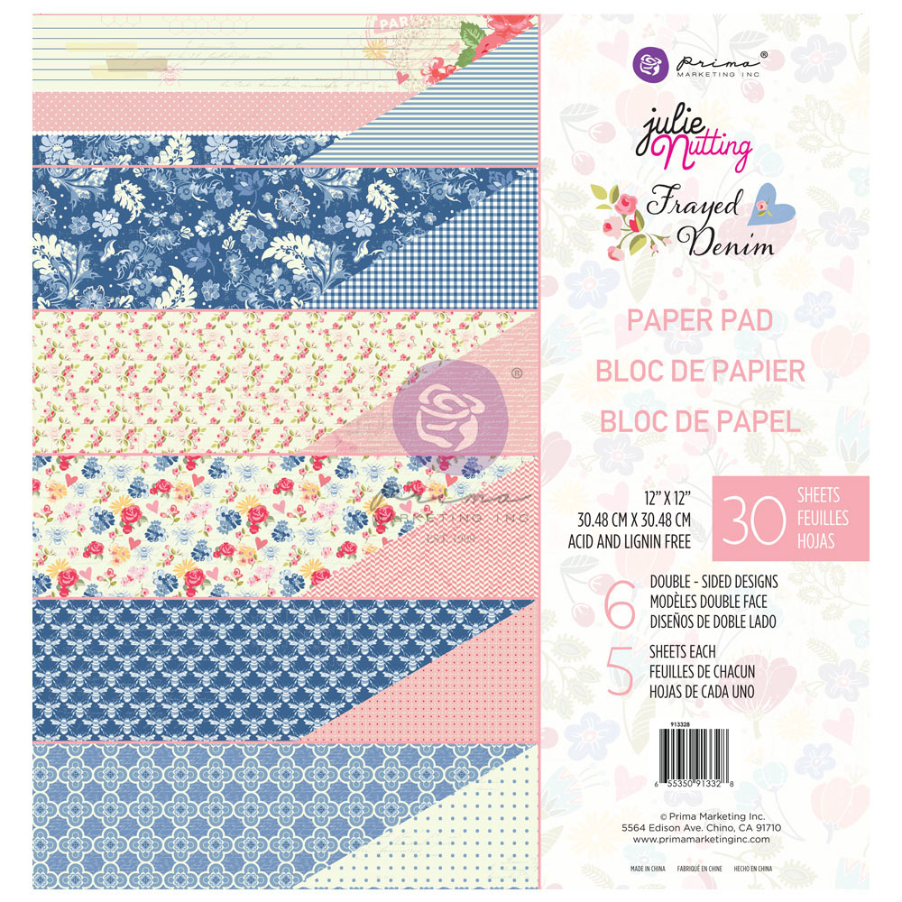 Julie Nutting Frayed Denim Collection 12x12 Paper Pad - 30 sheets