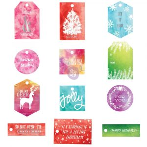 Watercolor Resist Tags - Sweet Peppermint
