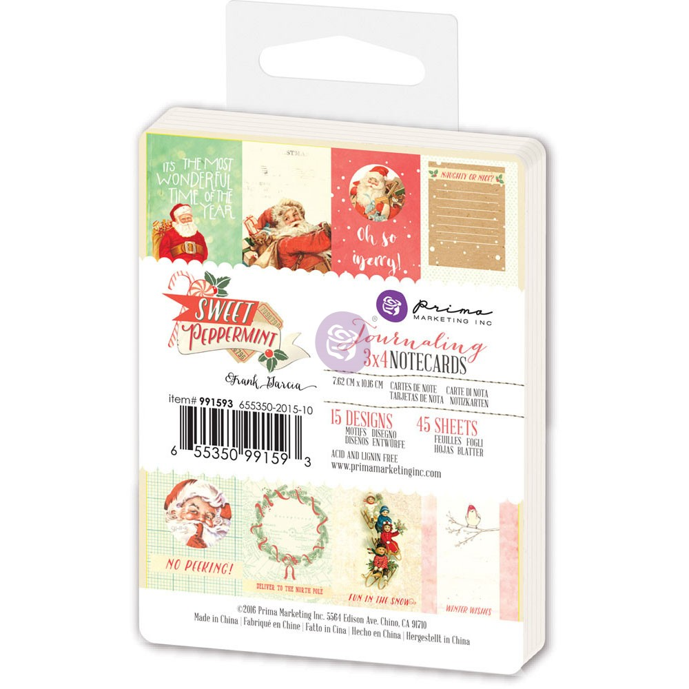 3x4 Journaling Notecards - Sweet Peppermint