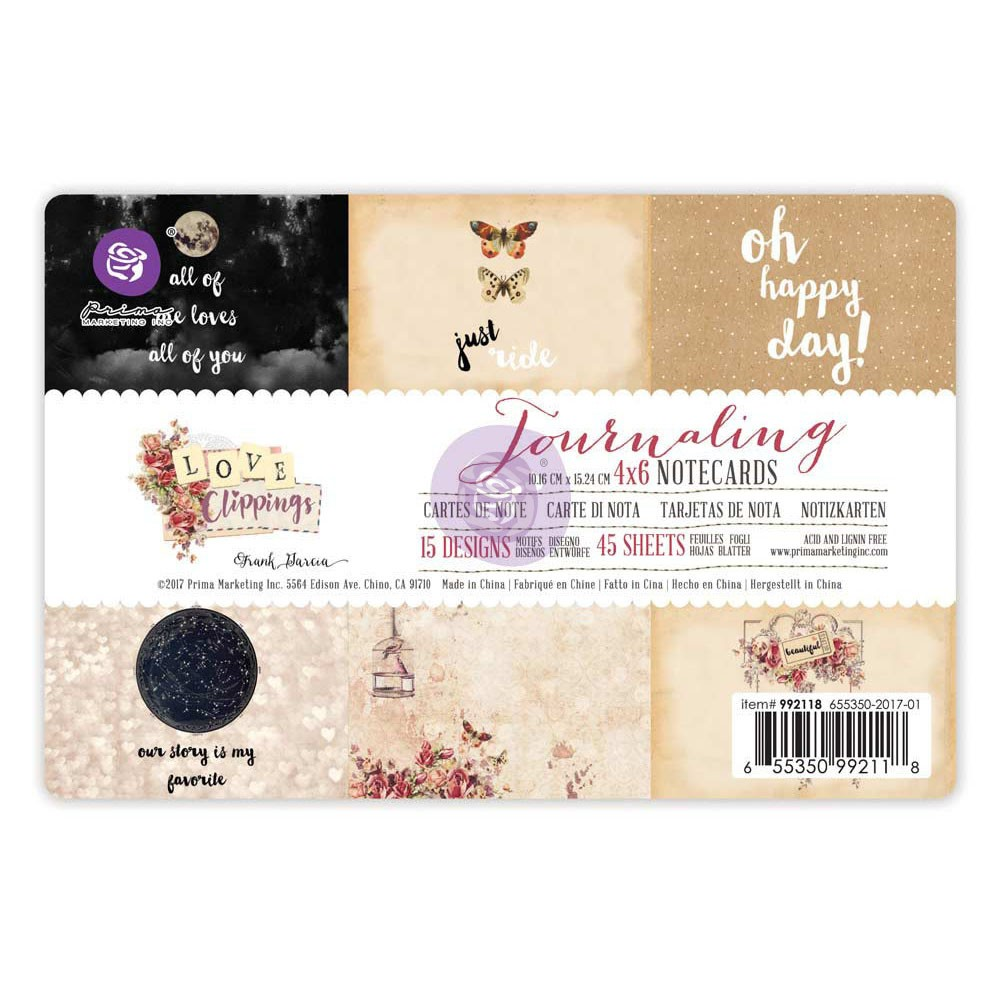 4x6 Journaling Notecards - Love Clippings