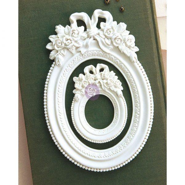 Memory Hardware Resin Frames - Blanc Fleur Oval Frame