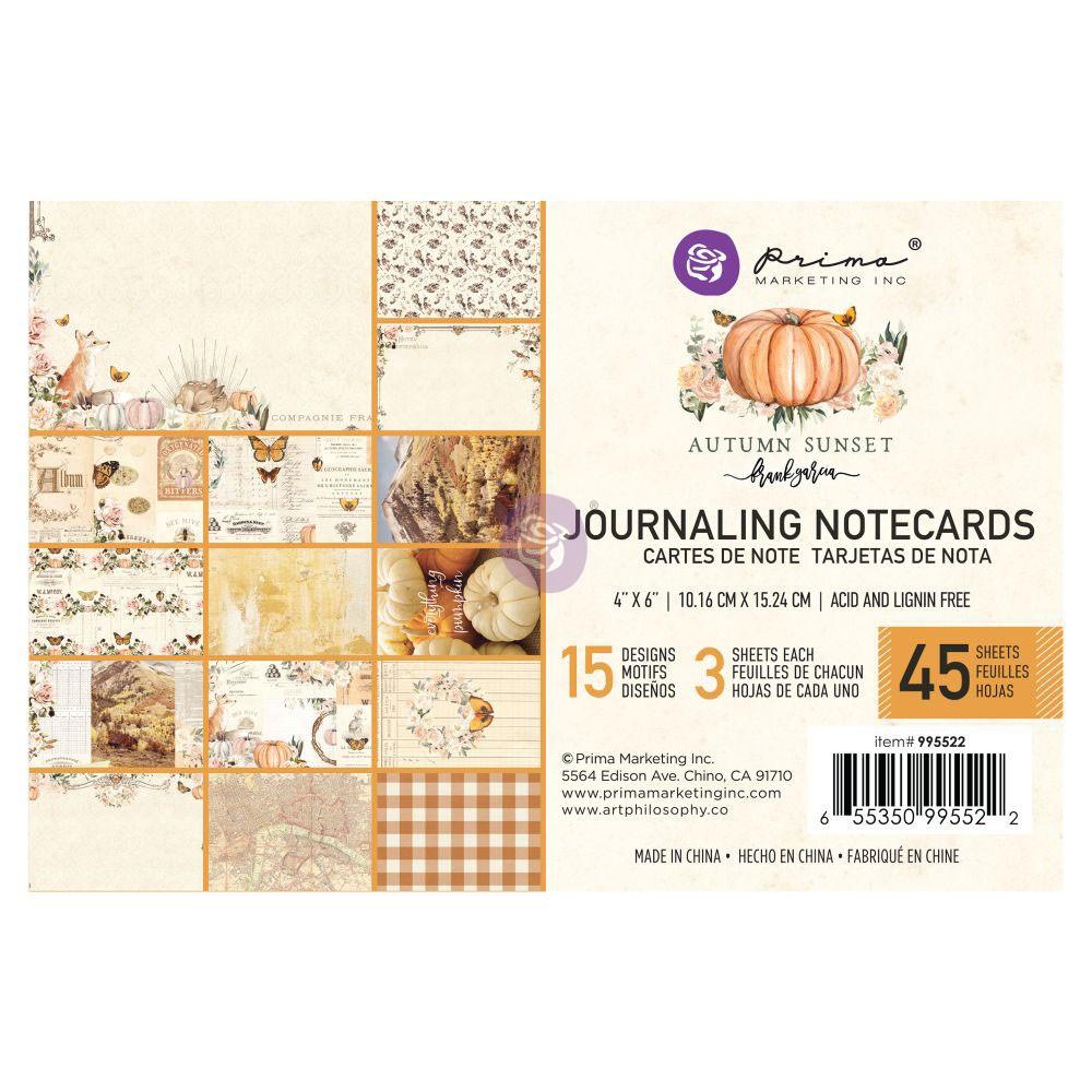 Autumn Sunset - 4X6 Journaling Cards -