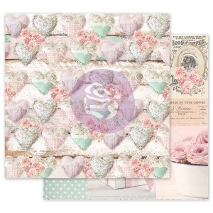 With Love Collection 12x12 Sheet -  Stitched Hearts - 1 sheet w/ foil details
