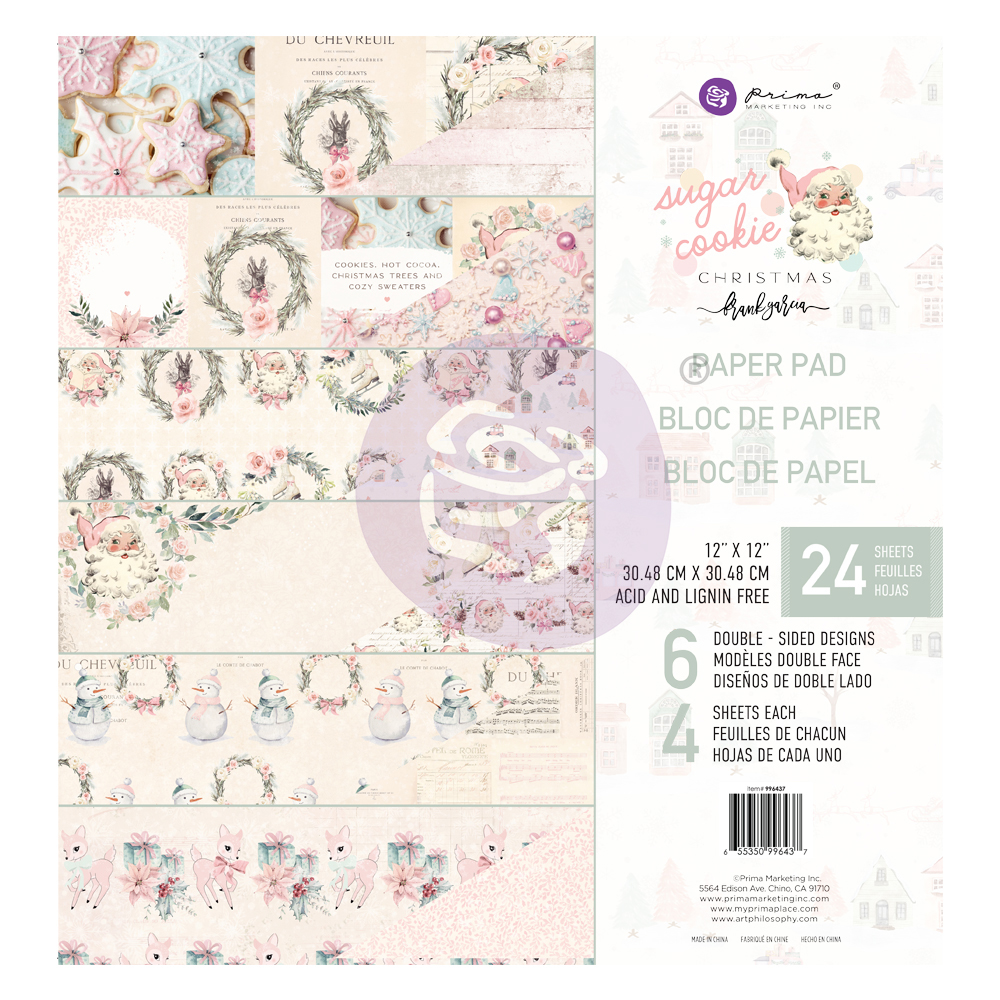 """Sugar Cookie Christmas Collection 12x12 Paper Pad - 12"""" x 12.5"""", 24 sheets, foil details"""